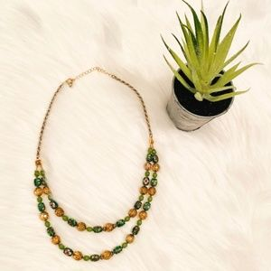Layered Crystal and Gem Necklace
